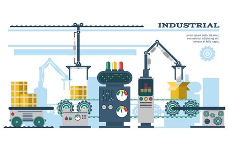 Ilustración de Industrial conveyor belt line vector illustration. Conveyor process production, conveyor with machinery robot - Imagen libre de derechos