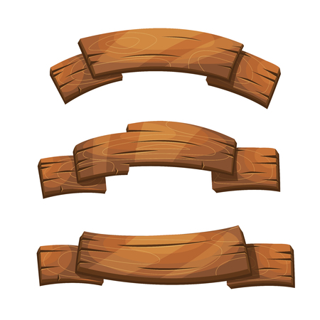 Illustration pour Comic wooden banners and signs. Wood plank board, cartoon wooden brown board illustration - image libre de droit