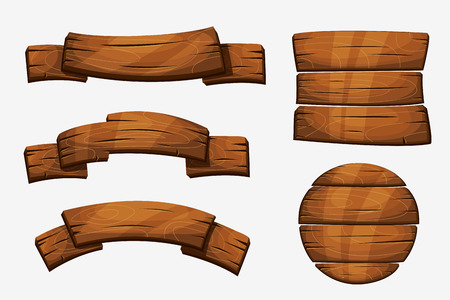 Illustration pour Cartoon wooden plank signs. Wood banner  elements isolated on white background. Wooden board round form illustration - image libre de droit