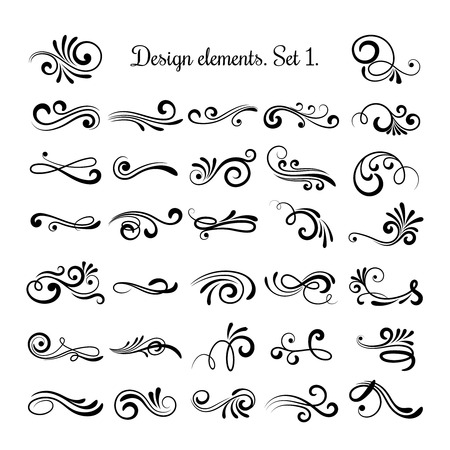 Ilustración de Swirly line curl patterns isolated on white background. Vector flourish vintage embellishments for greeting cards. Collection of filigree frame decoration illustration - Imagen libre de derechos
