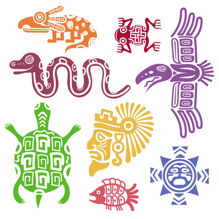Illustration for Ancient mexican symbols vector illustration. Mayan culture indian symbols with totem patterns. Animal turtle and snake, fish and colorful totem - Royalty Free Image