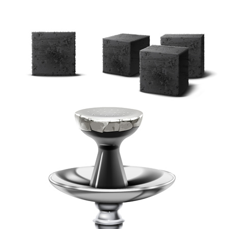 Illustration for Vector set of charcoal cubes for hookah pipe in different foreshortening isolated on white background - Royalty Free Image