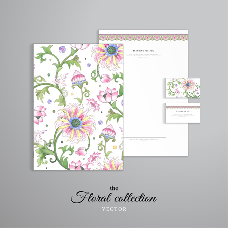 Illustration pour Vector identity templates. Letterhead, folder for documents, business cards. Lotus flowers and leaves are painted by watercolor. Imitation of chinese porcelain painting. Hand drawing. - image libre de droit
