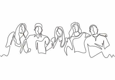 Illustrazione per Continuous one line drawing of diversity concept of people with minimalism hand drawn. Vector man and woman in the group of five persons in different age and gender. Simplicity design illustration. - Immagini Royalty Free