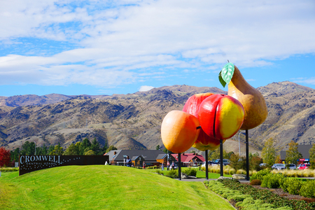 Photo for Cromwell/New Zealand: Apple Pear Cherry Apricot stone fruit symbol in center of Cromwell cherry capital famous tourist destination blue sky green grass meadow on sunny day - Royalty Free Image