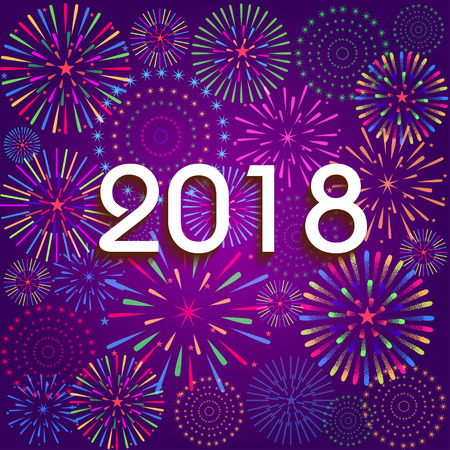 Illustration pour Vector illustration of Colorful fireworks. Happy new year 2018 theme - image libre de droit