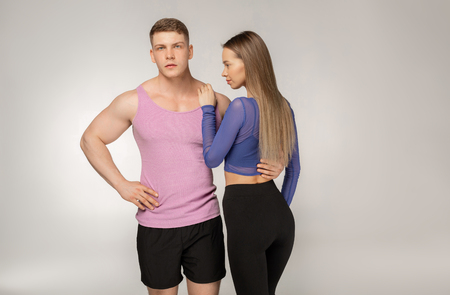 Foto per Portrait of young healthy muscular sports team embracing - Immagine Royalty Free