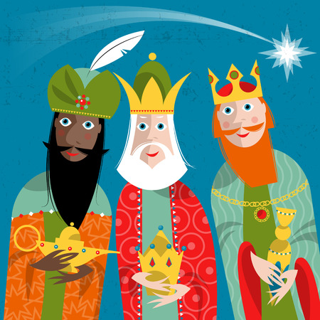 Ilustración de Three Kings. Three wise men.Vector illustration. - Imagen libre de derechos