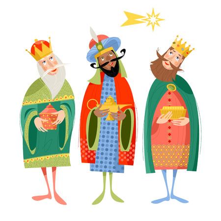 Ilustración de Three biblical Kings: Caspar, Melchior and Balthazar. Three wise men. Vector illustration. - Imagen libre de derechos