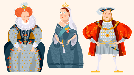 Illustration for History of England. Queen Elizabeth I, King Henry VIII, Queen Victoria. Vector illustration. - Royalty Free Image
