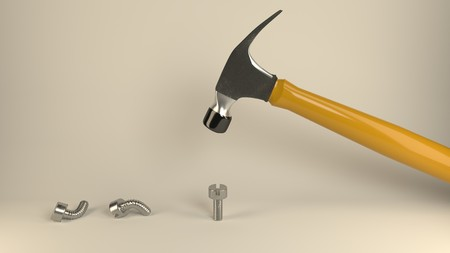 Photo for Hammer banging metal screws, symbolizes hard way or smart way, accurate solutions lead to success, efficiency, smartness, cleverness let you avoid  complications and hard work, optimize, be clever - Royalty Free Image
