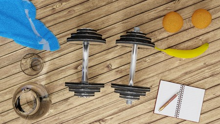 Photo for Workout, staying fit and healthy -  two shiny metal dumbells, two oranges and a banana, blue towel, small notebook and a pen, glass of water on a wooden floor - Royalty Free Image