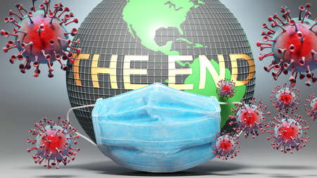 The end and covid - Earth globe protected with a blue mask against attacking corona viruses to show the relation between The end and current events, 3d illustration