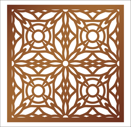 Ilustración de Laser cutting square panel. Openwork floral pattern with mandala. Perfect for gift box silhouette ornament, wall art, screen, panel fence, partition, gate  or coaster. Vector design template for paper cutting, wood, metal and woodcut. - Imagen libre de derechos
