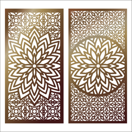 Ilustración de Set of golden laser cut panel with decorative floral designs. - Imagen libre de derechos