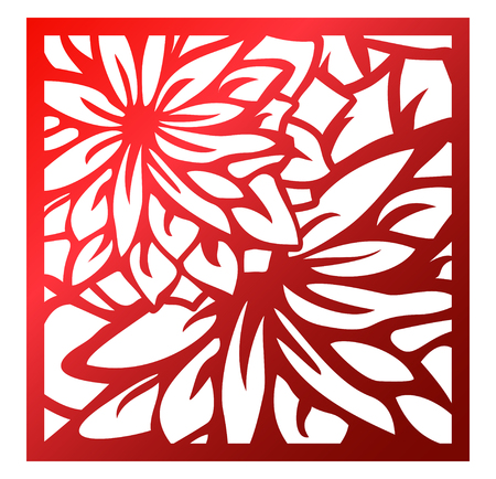 Ilustración de Laser cutting square panel. Openwork floral pattern with flowers. Perfect for silhouette ornament, wall art, screen, panel fence, partition, gate, coaster. Vector design template for cutting - Imagen libre de derechos