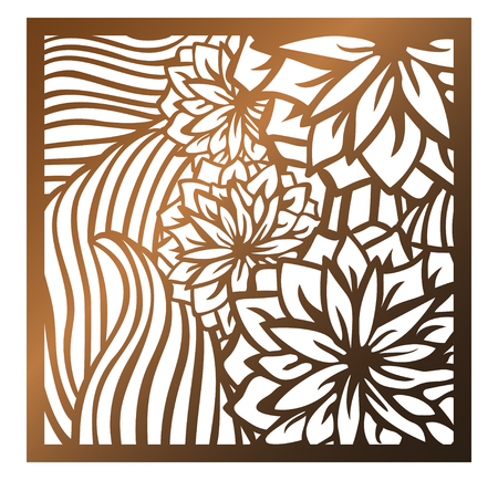 Ilustración de Laser cutting square panel. Openwork floral pattern with flowers and leaves. Perfect for silhouette ornament, wall art, screen, panel fence, partition, gate, coaster. Vector design template for cutting - Imagen libre de derechos