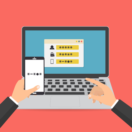 Illustration for Human hand hold smart phone with sms code for log on the system on computer laptop password protected. Vector illustration computer security with two factor authentication concept. - Royalty Free Image