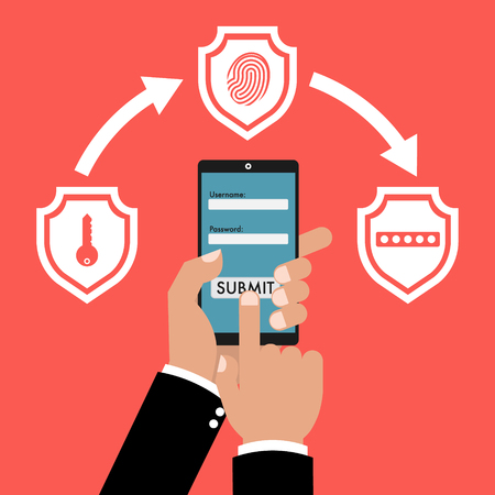 Ilustración de Businessman hand holding smart phone tablet with multi factor authentication concept with three shields on red background. Vector illustration business cybersecurity concept design. - Imagen libre de derechos