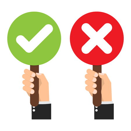 Illustration pour Businessman hand hold signboard Green check mark and red X mark Right and Wrong for feedback. Cartoon flat vector illustration business concept. - image libre de droit