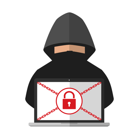 Illustration pour Thief hacker locked a victim computer laptop folder for ransom with ransomware malware virus computer on white background. Vector illustration cybercrime technology data privacy and security concept. - image libre de droit