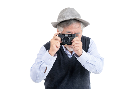 Photo for Happy asian elderly old man hobby photographer travel portrait copy space for your advertisement or promotional text on isolated white background, People lifestyle concept. - Royalty Free Image