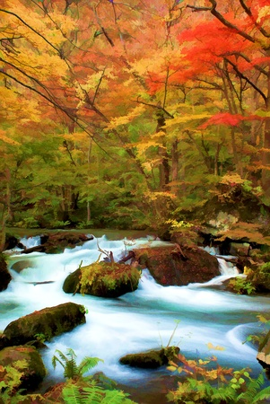 Photo for Autumn Colors of Oirase River, located at Aomori Prefecture Japan  - Royalty Free Image
