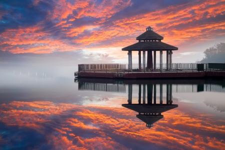 Photo for Sunrise of sun moon lake, Taiwan - Royalty Free Image