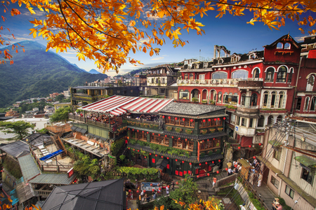 Foto de The Jiufen, Taipei, Taiwan. The meaning of the Chinese text in the picture is the red globe of Jiufen - Imagen libre de derechos