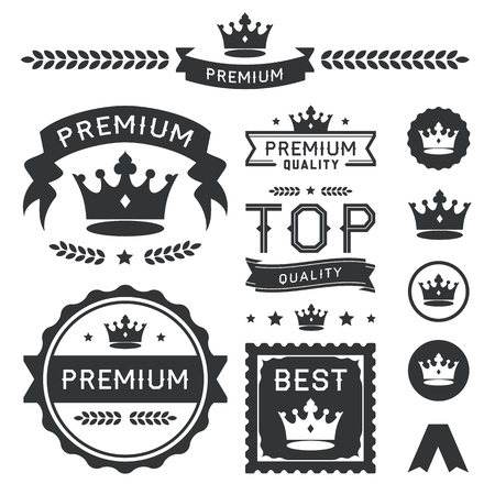 Illustration for Set of royal crown badges and vector labels  This premium design element collection contains a stylish crown ornament, banners, emblems, icons, symbols, and wreath divider  Useful for representing authority, quality, royalty, king, queen, awards, and clas - Royalty Free Image