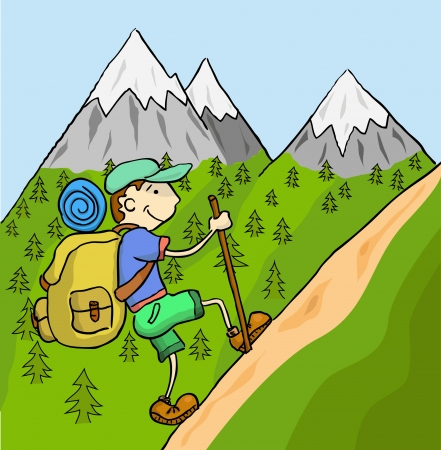 Illustration pour Tourist with a large backpack up the mountain   - image libre de droit