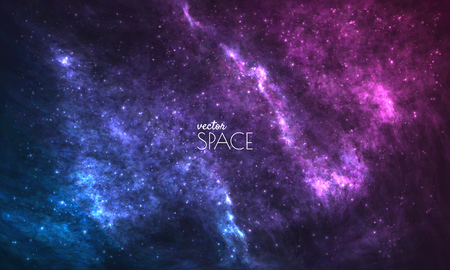 Illustration pour Cosmic Galaxy Background with nebula, stardust and bright shining stars. Vector illustration for your design, artworks - image libre de droit