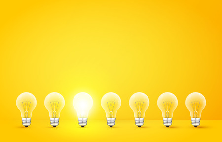 Illustration pour Standing in a row light bulbs with glowing one on a yellow background. Unlike others or odd man out concept. Vector illustration - image libre de droit