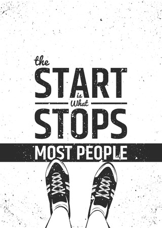 Illustration pour The start is what stops most people motivational inspiring quote on rough background. typographic concept. - image libre de droit