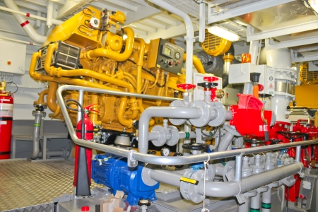 Foto de The power plant in  ship's engine room - Imagen libre de derechos
