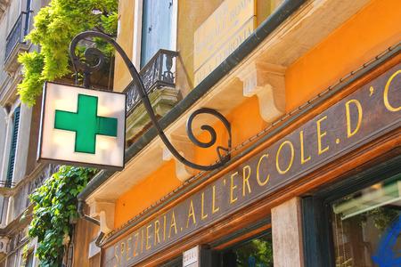 Photo for VENICE, ITALY - MAY 06, 2014: Pharmacy building in Venice, Italy - Royalty Free Image