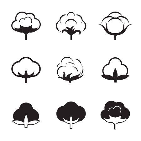 Illustration pour Set of isolated, black icons on a theme cotton - image libre de droit