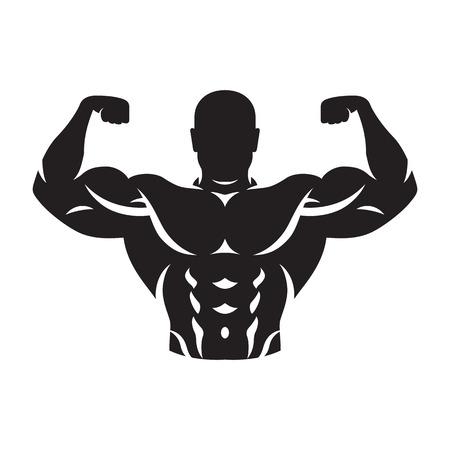 Ilustración de illustration of bodybuilder silhouette black on white background - Imagen libre de derechos
