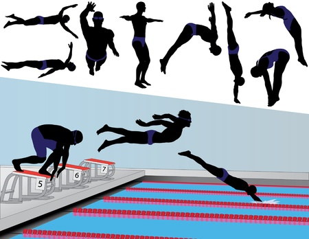 Vector silhouettes of competitive swimmers and divers.