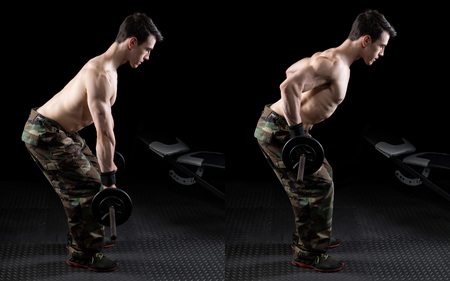 Photo for Barbell bent over row exercise. Studio shot over black. - Royalty Free Image