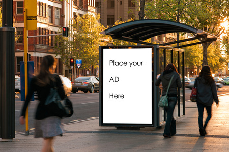 Foto de Outdoor advertising bus shelter - Imagen libre de derechos