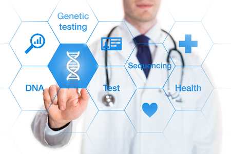Foto de Genetic testing concept with DNA icon and words on a screen and a medical doctor touching a button, isolated on white background - Imagen libre de derechos