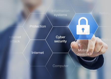 Foto de Cyber security concept on virtual screen with a consultant doing presentation in the background - Imagen libre de derechos