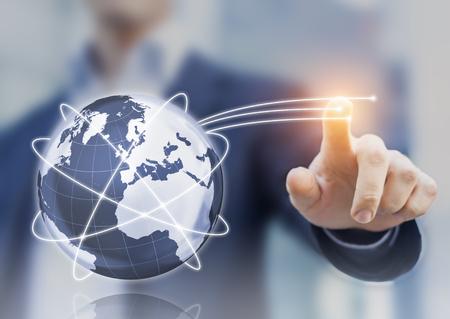 Photo pour Global internet telecommunication concept with 3d globe, satellite orbits, and high speed optic fibers - image libre de droit