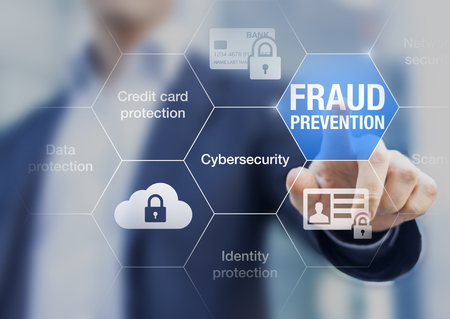 Photo pour Fraud prevention button, concept about cybersecurity, credit card and identity protection against cyberattack and online thieves - image libre de droit