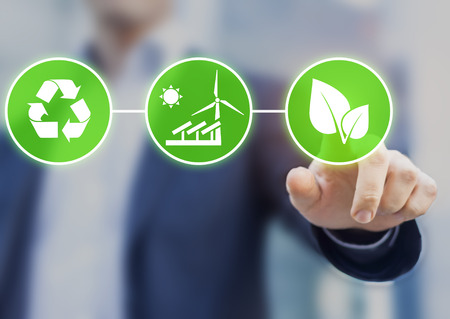 Photo pour Concept about sustainable development, ecology and environment protection. Person touching green buttons with icons - image libre de droit
