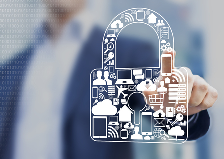 Photo pour Concept about security of digital information such as internet, e-commerce, flights and mobile devices - image libre de droit