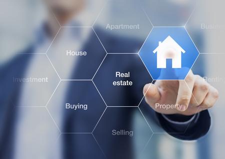 Photo pour Real estate agent pushing a button with a symbol of house on a transparent screen - image libre de droit