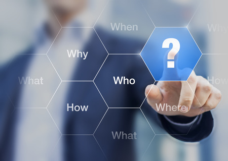 Photo pour What, when, where, who, how, why questions on the screen with businessman touching a button, concept about brainstorming, decision making and searching solutions - image libre de droit