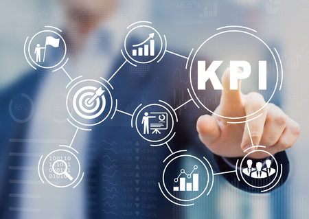Foto de Key Performance Indicator (KPI) using Business Intelligence (BI) metrics to measure achievement versus planned target, person touching screen icon, success - Imagen libre de derechos